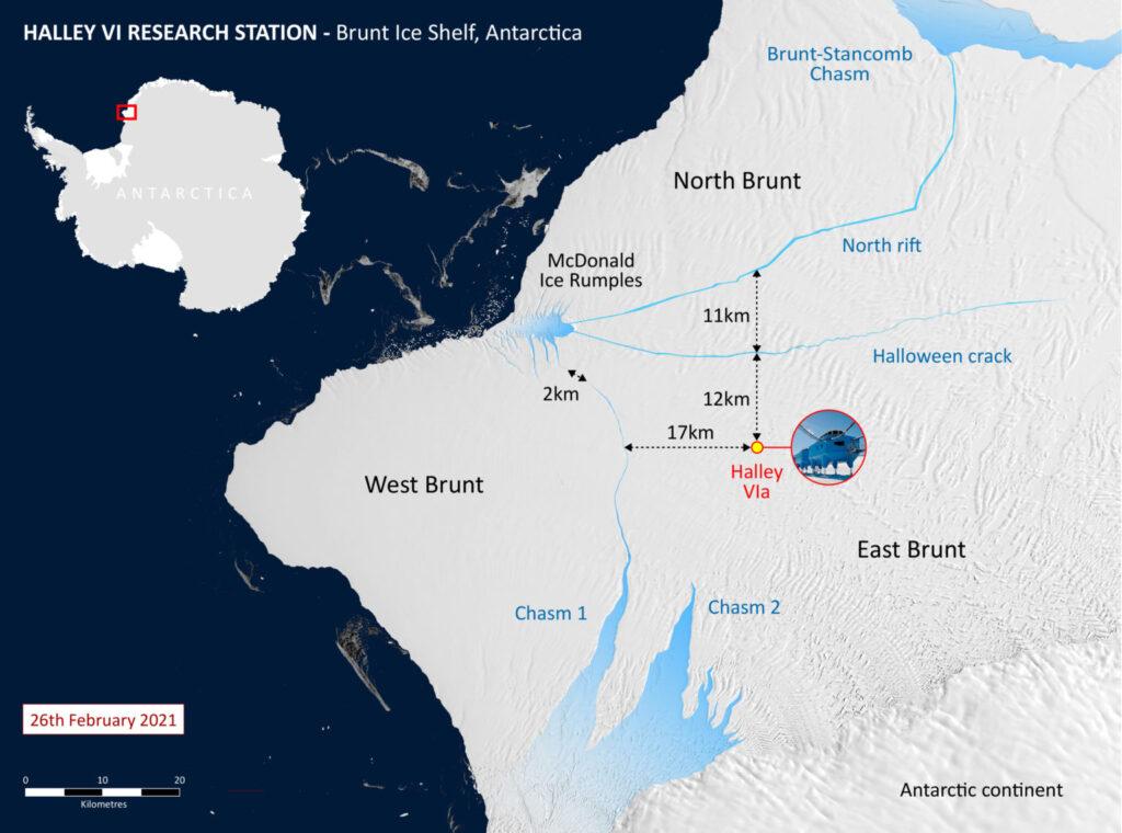 Mapa de la plataforma de hielo de Brunt y la estación de investigación Halley